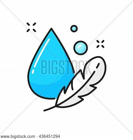 Light Weight Materials Wash, Feather And Drop Isolated Color Line Icon. Vector Foam Pillow, Anti All