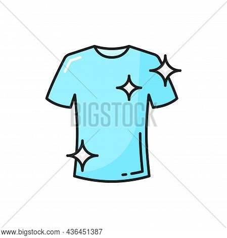 Clean T-shirt Washed In Detergent, Dirty Remover Advert Isolated Color Line Icon. Vector Laundry And
