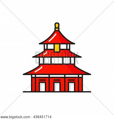 Red Asian Temple Of Heaven Isolated Chinese Pagoda. Vector Ancient Oriental Temple, Eastern Landmark
