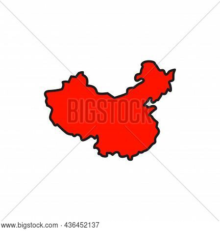 Map Of China Isolated Line Icon. Vector Geography Map With Cities And Provinces, Boundaries, Red Col