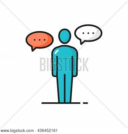 Man With Dialogue Chat Bubble Isolated Color Icon. Vector Man Or Woman With New Idea Sign, Conferenc