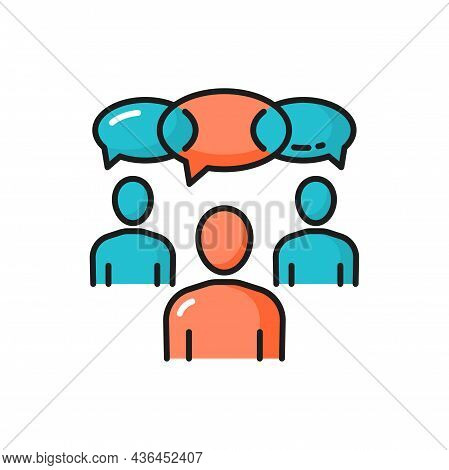 Meeting Online, People And Thoughts, Communication Isolated Icon. Vector Group Of Team Workers And S