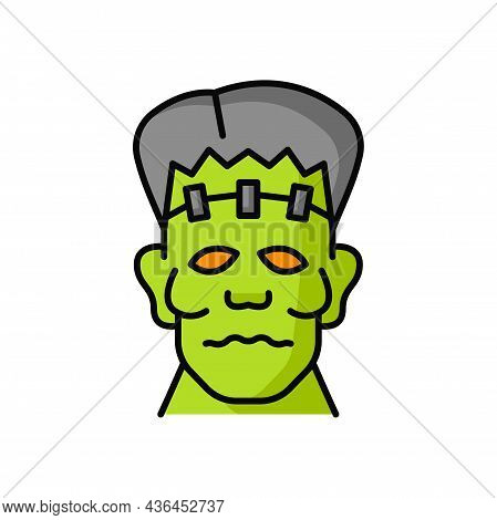 Green Creepy Zombie Isolated Halloween Dead Monster Outline Icon. Vector Monster, Vampire With Red E