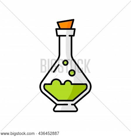 Halloween Witch Potion, Green Liquid In Jar With Wooden Cork Isolated Icon. Vector Witchcraft Apothe