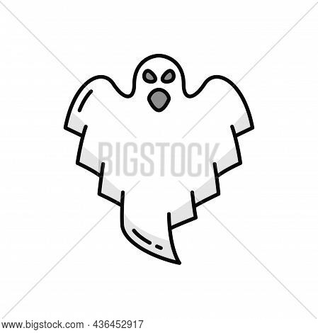 Spirit Mystery Poltergeist Isolated Monster Outline Icon. Vector Halloween Scary Dead Spooky Frighte