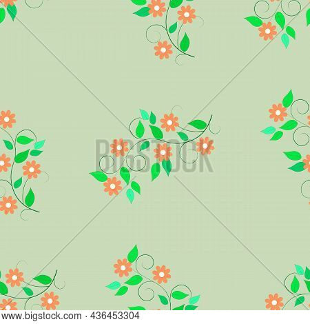 Chaotic Flower Twigs On A Green Background. Decorative Colorful Elegant Romantic Seamless Pattern Fo