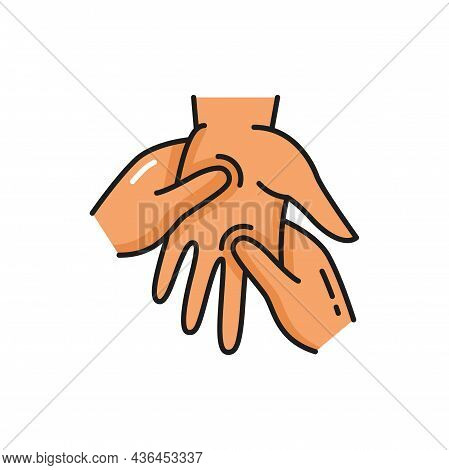 Doctor Massaging Human Palm, Hand Massage Isolated Outline Icon. Vector Osteopathic Therapy, Doctor