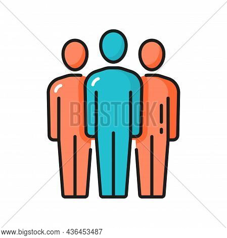 Meeting People Communication Discussion, Teamwork Isolated Color Line Icon. Vector Group Of People B