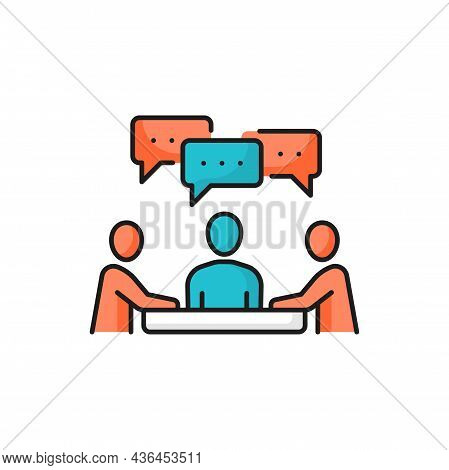 People Sitting At Desk And Talking, Communication And Chat Bubbles Over Head Isolated Color Line Ico