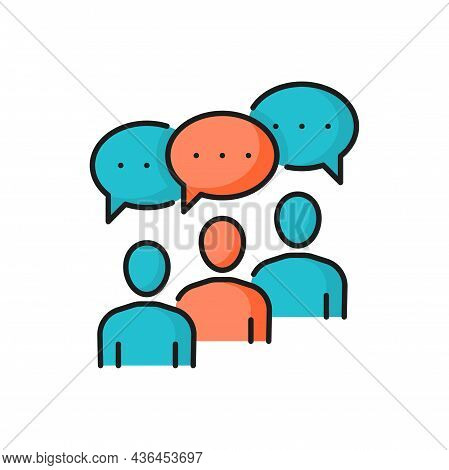 Communication Of Business People, Chat Bubbles Isolated Color Line Icon. Vector Conversation Of Cowo