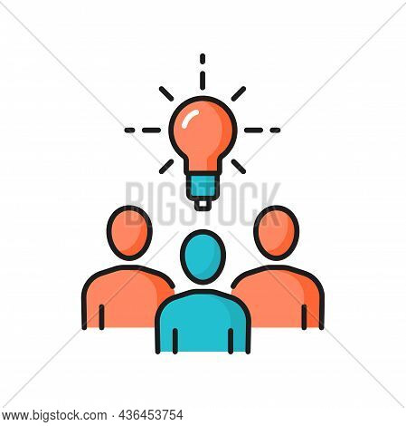 Business Meeting, Brainstorming, New Idea, Bulb Isolated Color Line Icon. Vector Office Staff, Manag