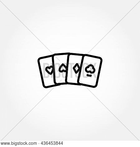 Playing Cards Aces Line Icon. Cards Aces Isolated Line Icon