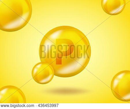 3d Vitamin Drop P Flavonoid Pill Capsule. Realistic P Flavonoid Vitamin Complex Design Illustration.