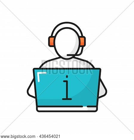 Hotline Assistant Person In Headphones At Laptop Isolated Color Line Icon. Vector Call Center Hotlin