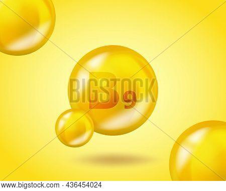 3d Vitamin Drop B9 Folic Acid Pill Capsule. Realistic B9 Folic Acid Vitamin Complex Design Illustrat
