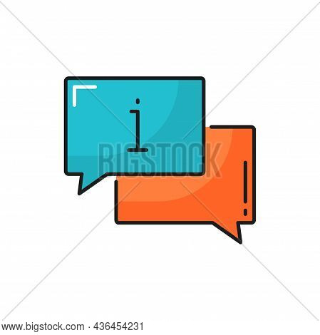 Chat Bubbles With Information Sign, Question Box Isolated Color Line Icon. Vector Inform Or Instruct