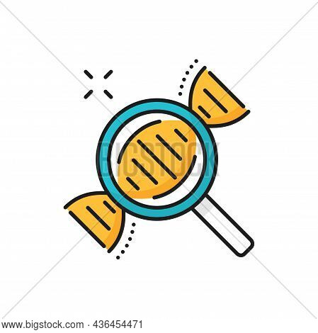 Genetics Molecule Magnification, Magnifying Glass Isolated Line Icon. Vector Chemistry Research By L