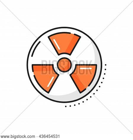 Radiation Hazard Sign Isolated Color Line Icon. Vector Mark Radiation Area, Radioactive Chemical Pow
