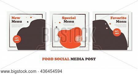 Food Menu Banner Social Media Post. Editable Social Media Templates For Promotions On The Food Menu.