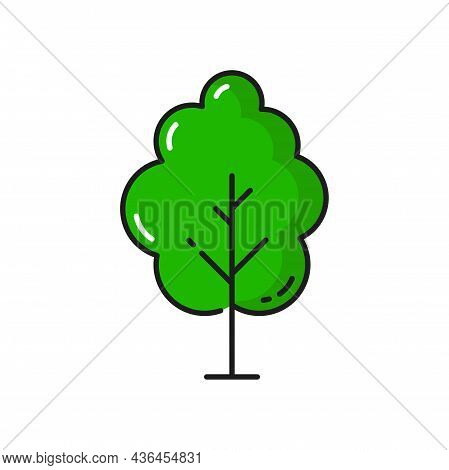Green Tree Cartoon Forest Plant Isolated Thin Line Icon. Vector Landscape And Garden Architecture El