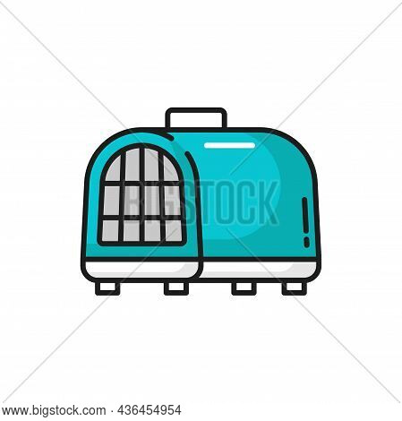 Cats Bag, Pets Travel Carrier Or Portable Handbag Isolated Outline Icon. Vector Animals Care Accesso