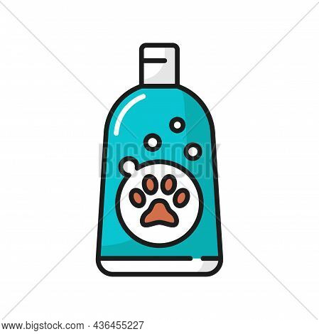 Cat Shampoo Bottle Isolated Pet Animals Hygiene Cleaning Pack Thin Line Icon. Vector Soft Pets Cosme