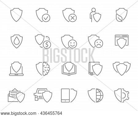 Defense Line Icon Set. Shield, Security, Protective, Protection, Safety And More.