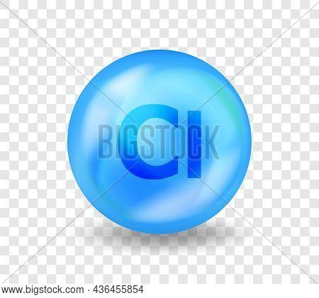 Mineral Cl Chlorum. 3d Vitamin Complex Illustration Concept. Blue Drug Nutrition Design For Beauty,