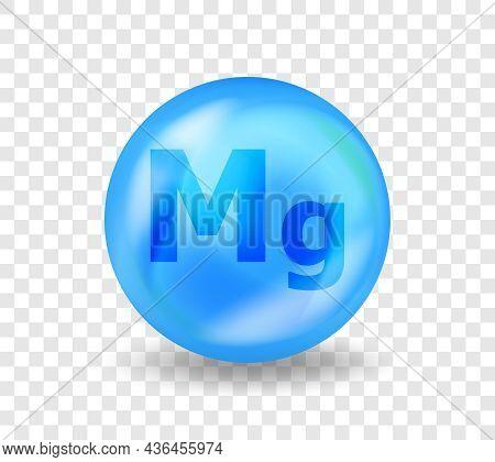 Mineral Mg Magnesium. Medicine Drug Nutrition Advertising. Vitamin Complex Illustration Concept.