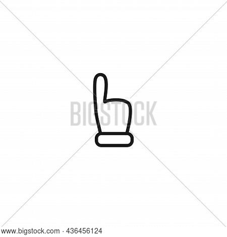 Hand Vector Line Icon, Forefinger Icon On White Background