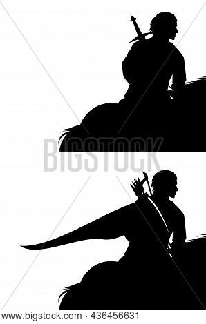Fairy Tale Medieval Warrior Riding Horse - Black And White Vector Silhouette Of Mounted Archer And S