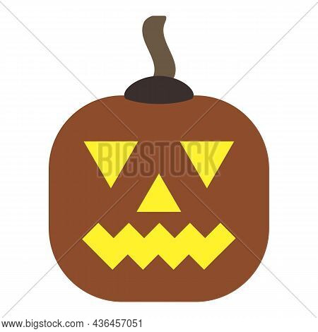Cheerful Pumpkin With Sarcastic Grin. Original Glowing Face. Smiling Gourd. Squash Carved As Pumpkin