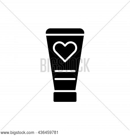Tube With Lubricant Glyph Icon. Sex Shop. Black Filled Symbol. Isolated Vector Stock Illustration
