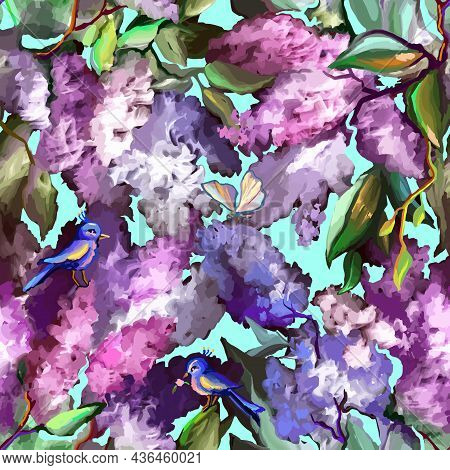 Lilac Seamless Floral Pattern With Bird. Branches Of Purple Flowers Blooming In Spring. Painted With
