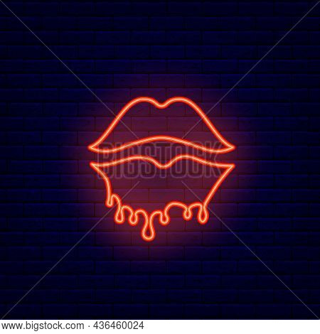 Melting Lips Neon Icon. Beauty Store. Sex Shop Logotype. Night Bright Signboard. Outer Glowing Effec