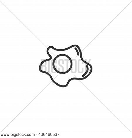 Fried Egg Isolated Line Icon For Web And Mobile
