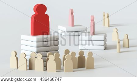 Large Red Wooden Figure Of A Man Stands On A Pedestal In Front Of A Crowd Of Identical White Figures