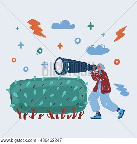 Vector Illustration Of Woman Looking Through Spyglass. Character Spies In The Bushes