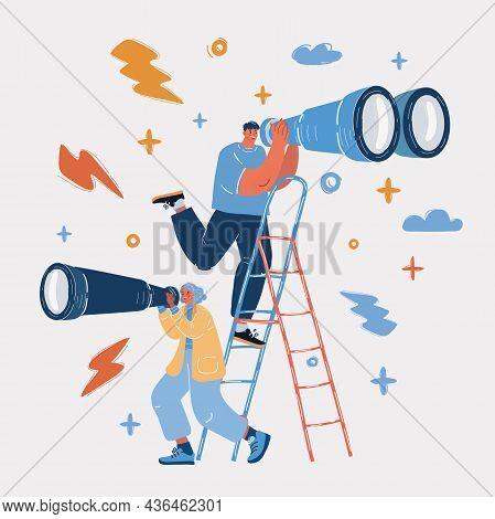 Vector Illustration Man Looking Through Binocular And Woman Look Through Spyglass It Another Directi