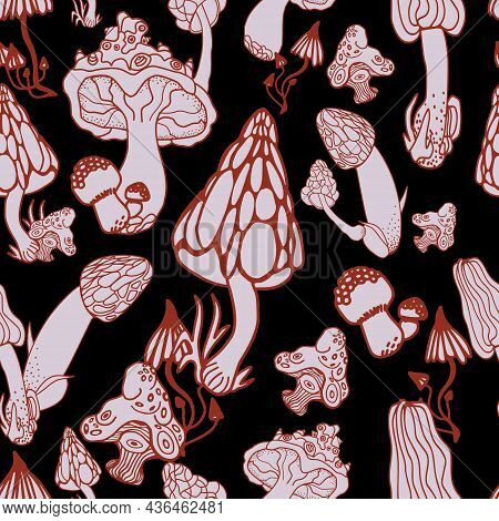 Mushrooms With Hand Drawn Different Shape. Stylized Magic Psychedelic Mushrooms Seamless Pattern. Pi
