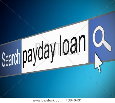 Illustration depicting a screen shot of an internet search bar containing a payday loan concept. poster
