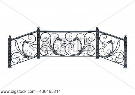 Double-sided Staircase Railing.  Isolated Over White Background.