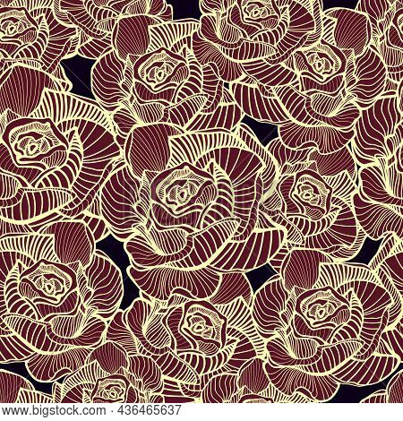 Abstract Elegance Seamless Floral Pattern. Beautiful Flowers Vector Illustration Texture With Pink,