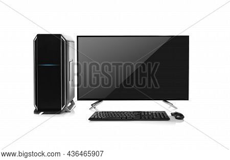 Modern Black Desktop Computer Isolated On A White Background
