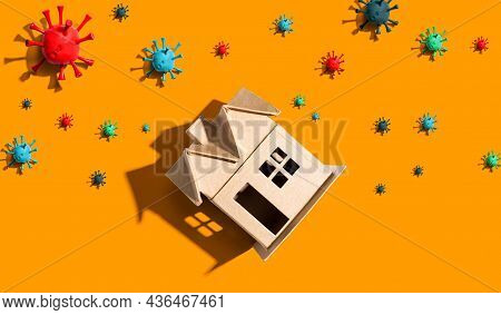 House With Epidemic Influenza And Coronavirus Covid-19 Concept