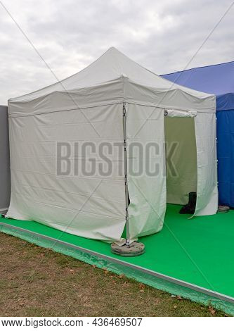 White Tent Canopy Setup For Outdoor Events