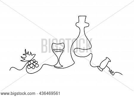 Lineart Set Of Grape Glass Bottle And Corkscrew. Sommelier Line Art. Party Theme. Vector Illustratio