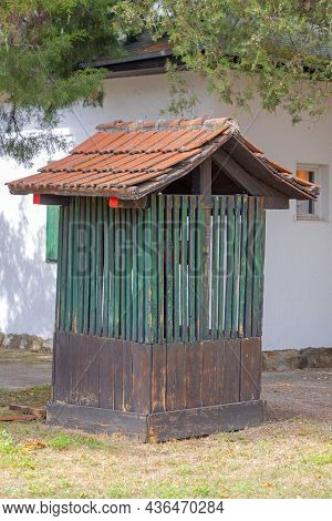 Old Water Well Wooden Enclosure Structure In Village