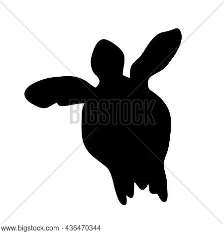 Turtle Icon Isolated On White Background. Black Silhouette Of Marine Turtle. Large Sea Tortoise Simp