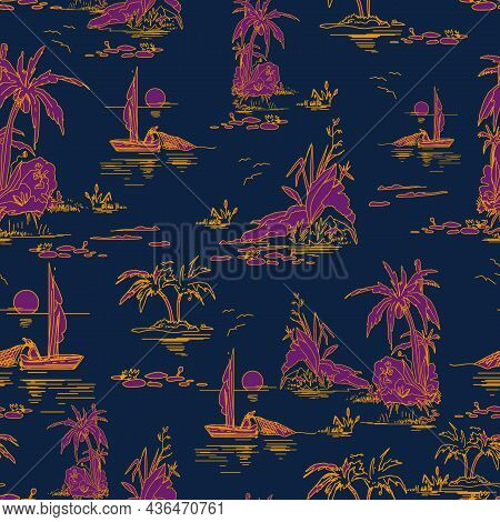 Beautiful Seamless Island Pattern On Dark Blue Background. Landscape With Pink Palm Trees, Beach And